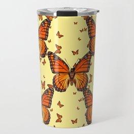 ORANGE MONARCH BUTTERFLIES CREAM  MODERN ART MONTAGE FOR the Travel Mug