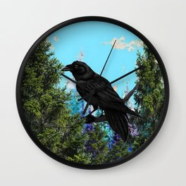 CROW &  Mountain Landscape Pines In Blue-Greens Wall Clock