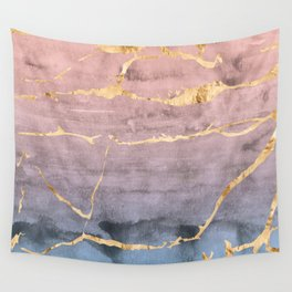 Watercolor Gradient Gold Foil Wall Tapestry