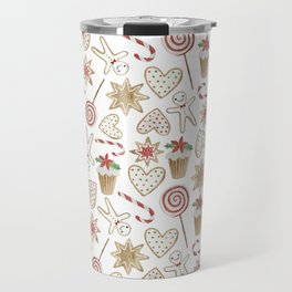 Watercolor seamless pattern with christmas sweets. Travel Mug