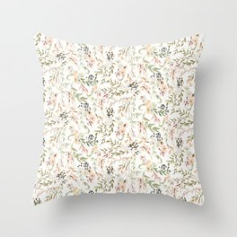Dainty Intricate Pastel Floral Pattern Throw Pillow
