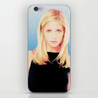 buffy the vampire slayer iPhone & iPod Skins featuring Buffy the Vampire Slayer, Cross by Your Friend Elle