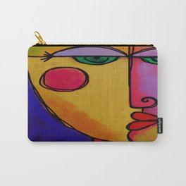 Colorful Abstract Face Digital Painting Carry-All Pouch