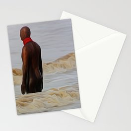 Gormley Statue in the Surf (Digital Art) Stationery Cards