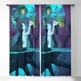 Plant collecting mermaid Blackout Curtain
