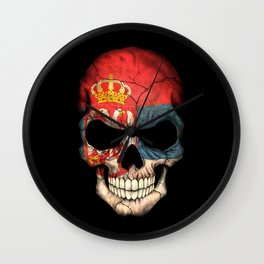Dark Skull with Flag of Serbia Wall Clock
