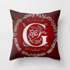 Joshua 24:15 - (Silver on Red) Monogram G Throw Pillow
