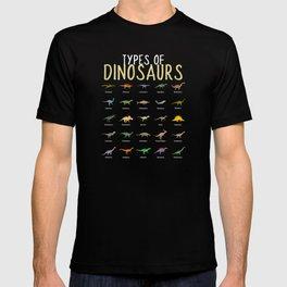 Types Of Dinosaur Dino Children Boys T-shirt