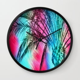 isolate palm tree with painting abstract background in pink and blue Wall Clock
