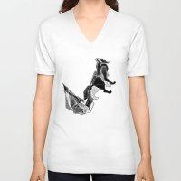 literature V-neck T-shirts featuring literature fox 1 by vasodelirium