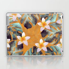 Tropical Monstera Leaf and Plumeria Flower Pattern Laptop & iPad Skin
