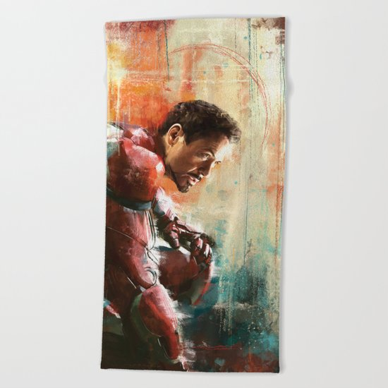 The man of Iron Beach Towel