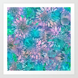 Painted Background Floral Pattern Art Print