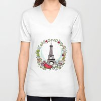 cooking V-neck T-shirts featuring French Cooking by Grace Anderson