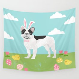 French Bulldog easter spring dog breed gifts pure breed frenchies white with black coat Wall Tapestry
