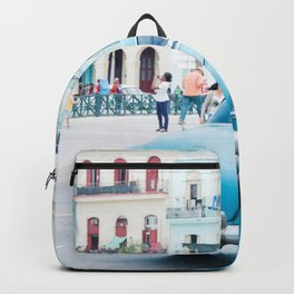 Colorful Blue Car in Old Havana Cuba Backpack