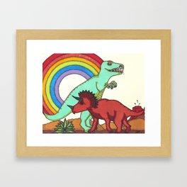 Dinosaur Rainbow Boner Framed Art Print