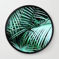 palms Wall Clocks featuring Palms by Karen Hofstetter