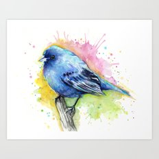 Blue Bird Indigo Bunting Colorful Animals Art Print