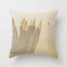 I Love to Draw Throw Pillow