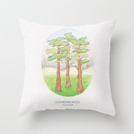 Haruki Murakami's Norwegian Wood // Illustration of a Forest and Mountains in Pencil Throw Pillow