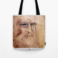 da vinci Tote Bags featuring Leonardo Da Vinci by Michael Cu Fua