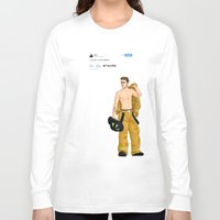 liam payne Long Sleeve T-shirts featuring Fireman Liam by maestolenpencil