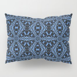 Classic Blue Black and Denim Geometric Tile Pattern Pillow Sham