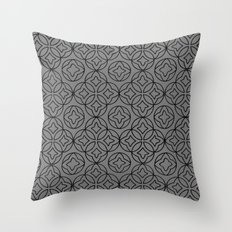 Ancient Pattern Illustration in Steel Gray Throw Pillow