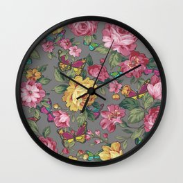 butterflies & roses Wall Clock