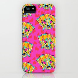 Bright Dog Pattern | Pink iPhone Case