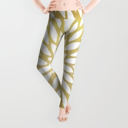White Leaves on Gold Leggings