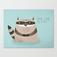 Canvas Prints featuring Sneaky Raccoon by Chase Kunz