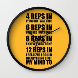 Lab No. 4 - 4 Reps In I Thought I Was Done Gym Motivational Quotes Poster Wall Clock