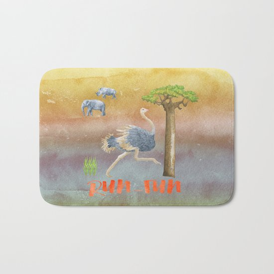 Run Fun - Ostrich Bird Animal Africa  Illustration Bath Mat