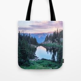 Hikers Bliss Perfect Scenic Nature View \ Mountain Lake Sunset Beautiful Backpacking Landscape Photo Tote Bag