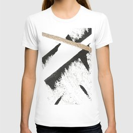 Sassy: a minimal abstract mixed-media piece in black, white, and gold by Alyssa Hamilton Art T-shirt