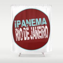 Ipanema, Rio de Janeiro, text, circle Shower Curtain