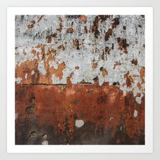 bygones - abstract of crumbling wall in hues of fire Art Print