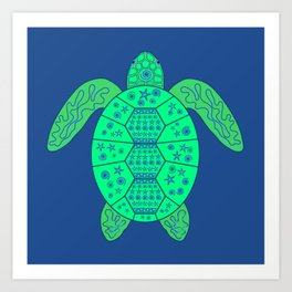 Sea Turtle - Blue and Green Art Print