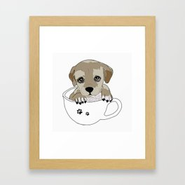Puppies love coffee too! Framed Art Print