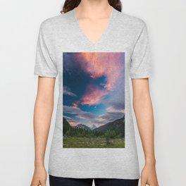 Amazing sunset clouds over mountain Mangart Unisex V-Neck