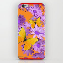 Red-Orange Yellow Butterflies Lilac Color Purple Daisies iPhone Skin