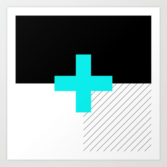 Neon Cross (Blue) // Neon Plus (Blue) Art Print