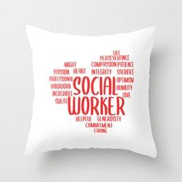 Social Worker Heart Social Care Gift Throw Pillow