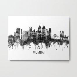 Mumbai India Skyline BW Metal Print
