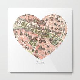 Paris Decor, Paris Map, Heart, Pink, Parisian, Wedding, Dorm Decor, French Architecture Metal Print