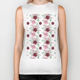 Succulents Pastel Red Pink Mint Green Pattern 2 Biker Tank