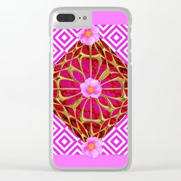 Fuchsia Pink Wild Rose Pattern Abstract Clear iPhone Case