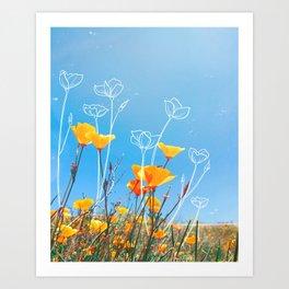 Orange Poppy Field Art Print